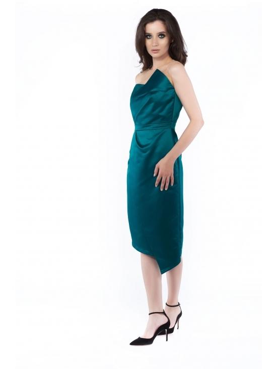 Rochie Elegance verde midi din tafta satinata