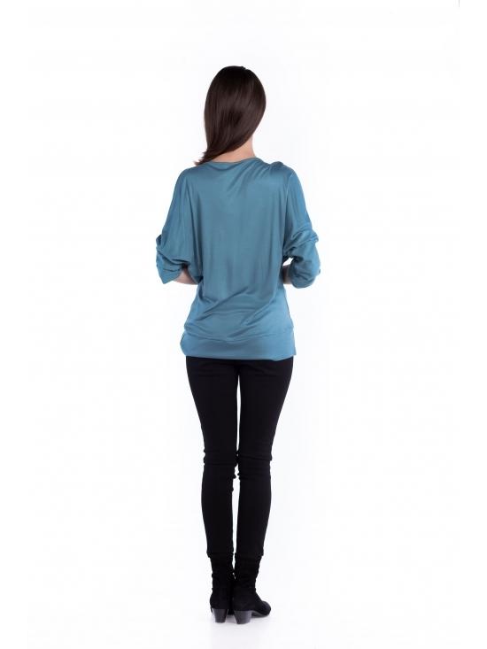 Bluza Honey albastra din vascoza 100% #3