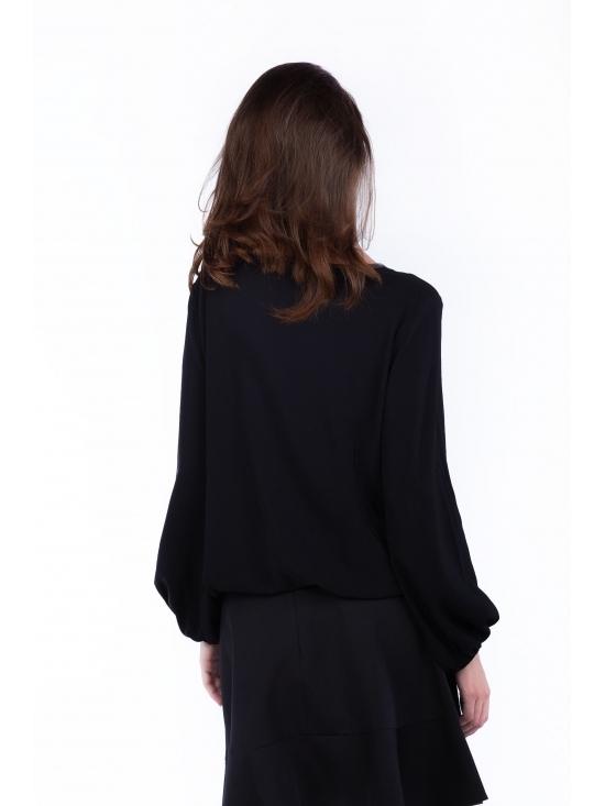 Bluza Natalia neagra din vascoza 100% #2