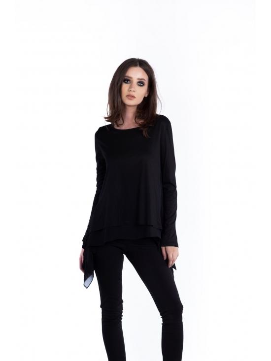 Bluza Valeria neagra din jerse vascoza 100%