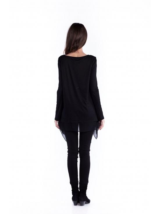Bluza Valeria neagra din jerse vascoza 100% #3