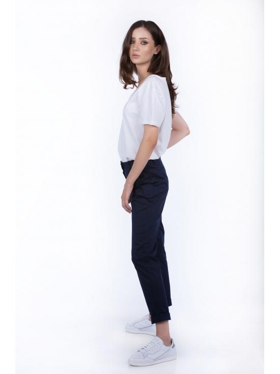 Pantalon Day bleumarin din bumbac 100% #2
