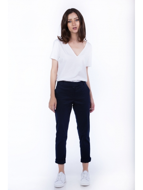 Pantalon Day bleumarin din bumbac 100%