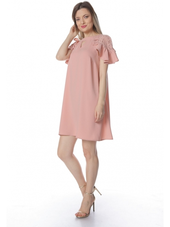 Rochie Xintia roz cu maneca raglan dantela #2