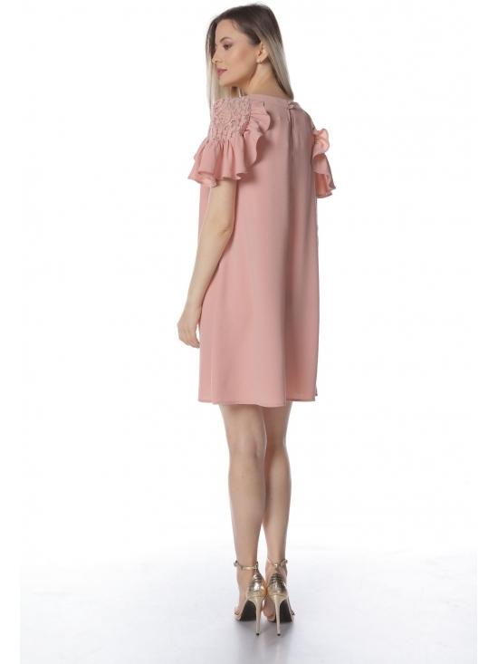 Rochie Xintia roz cu maneca raglan dantela #3