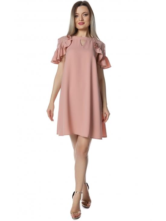Rochie Xintia roz cu maneca raglan dantela