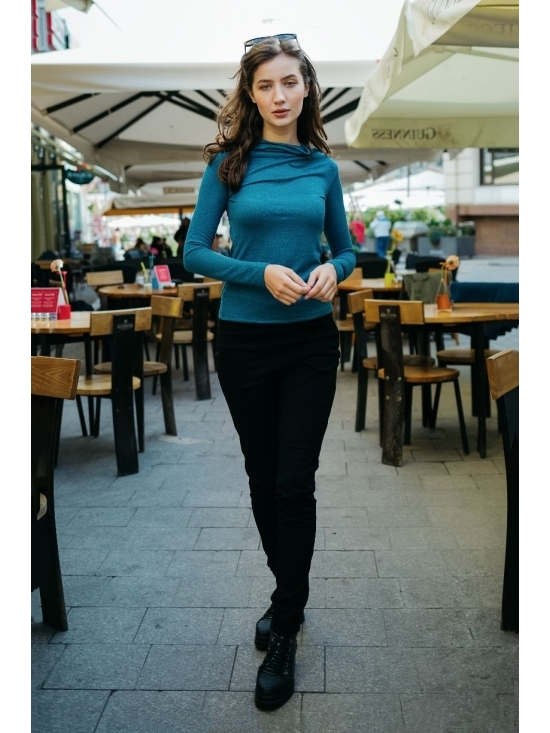 Bluza Diana albastra din jerse #2