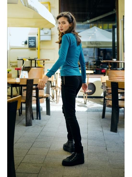 Bluza Diana albastra din jerse #5