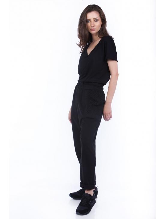 Pantalon Sultana din bumbac 100% cu plasa neagra fagure #2