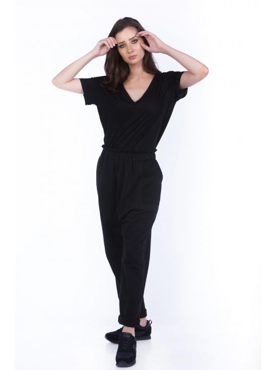 Pantalon Sultana din bumbac 100% cu plasa neagra fagure #3