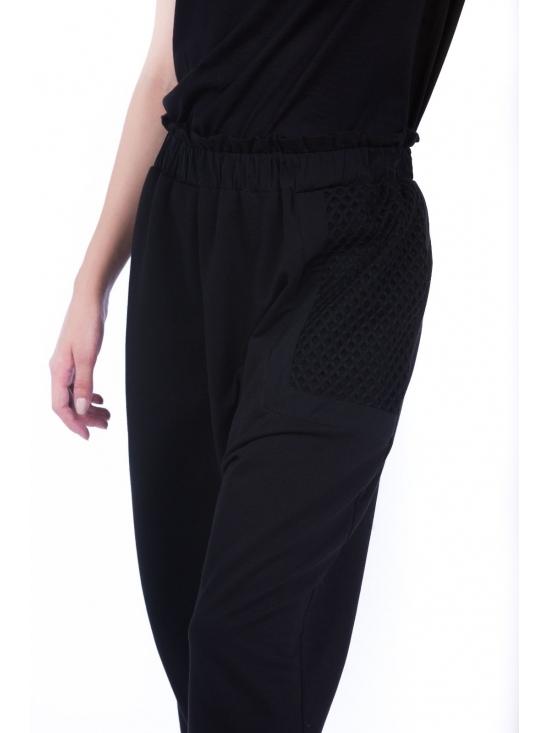 Pantalon Sultana din bumbac 100% cu plasa neagra fagure