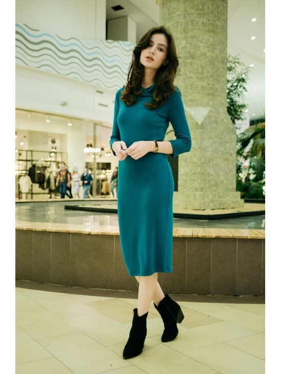 Rochie Ella tricotata albastra #2