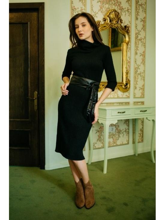 Rochie Ella tricotata spic de grau neagra