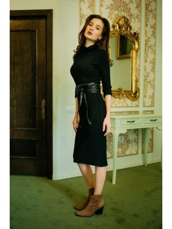 Rochie Ella tricotata spic de grau neagra #3