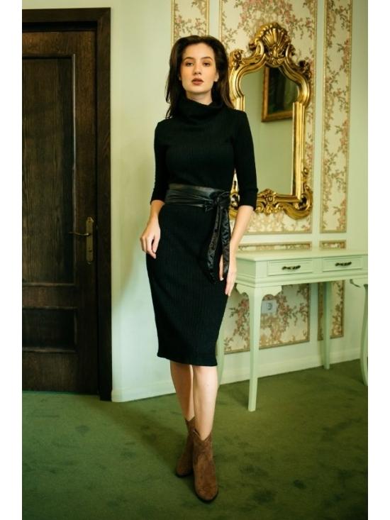 Rochie Ella tricotata spic de grau neagra #2