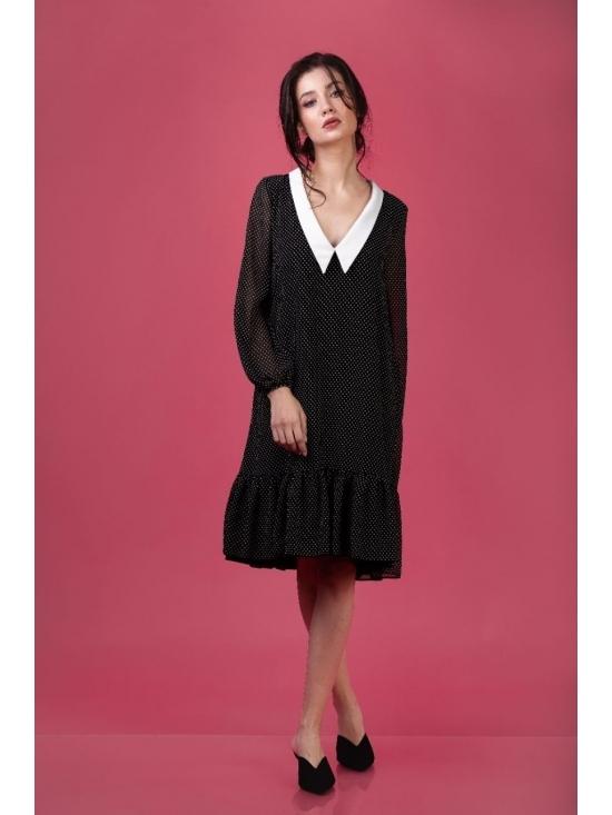Rochie Chelsea neagra cu buline mini #8