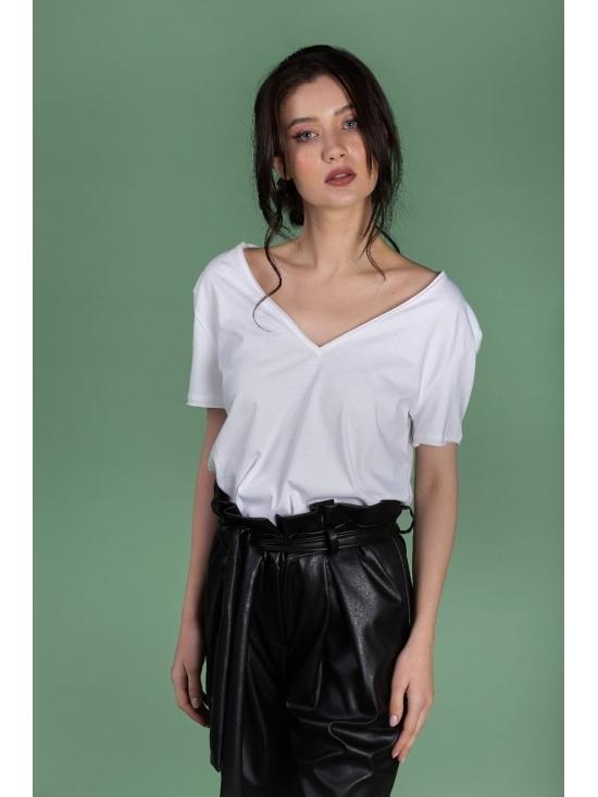 Tricou Leti alb din bumbac 100% #5