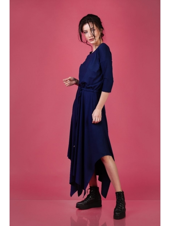 Rochie Krissy jerse bleumarin din vascoza 100% #4