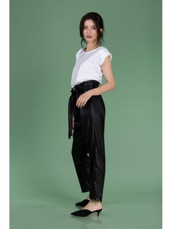 Pantalon Eve negru din piele ecologica #2