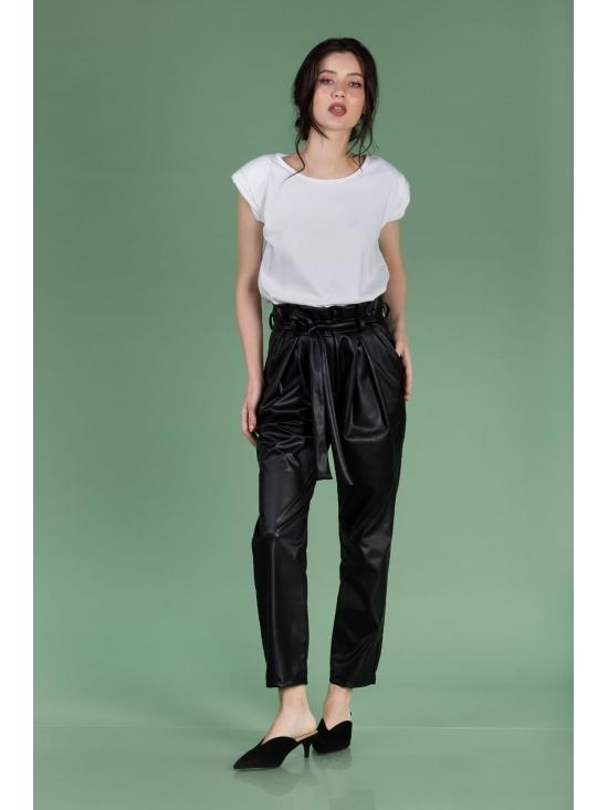 Pantalon Eve negru din piele ecologica