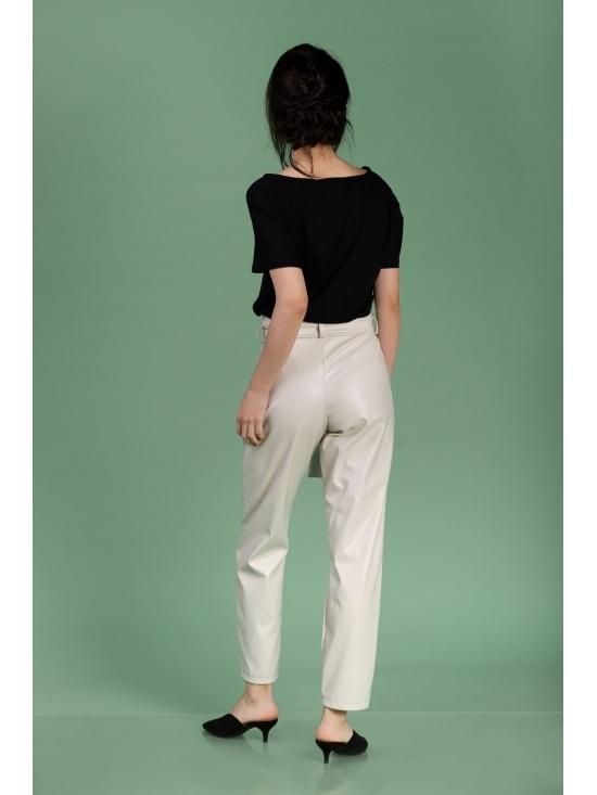 Pantalon Eve alb din piele ecologica #2
