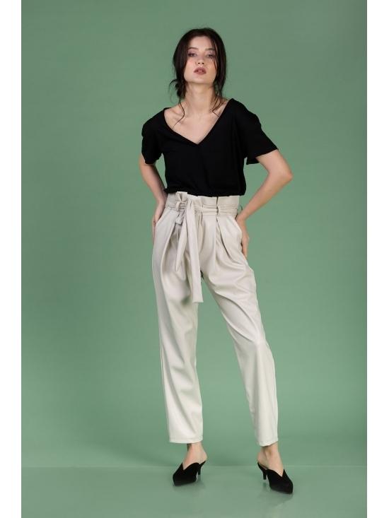 Pantalon Eve alb din piele ecologica #4