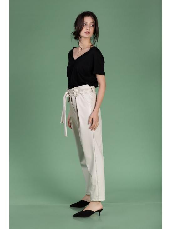 Pantalon Eve alb din piele ecologica