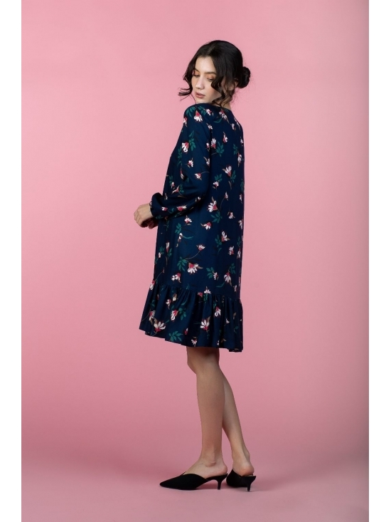 Rochie Leggera bleumarin cu flori roz din vascoza 100% #2