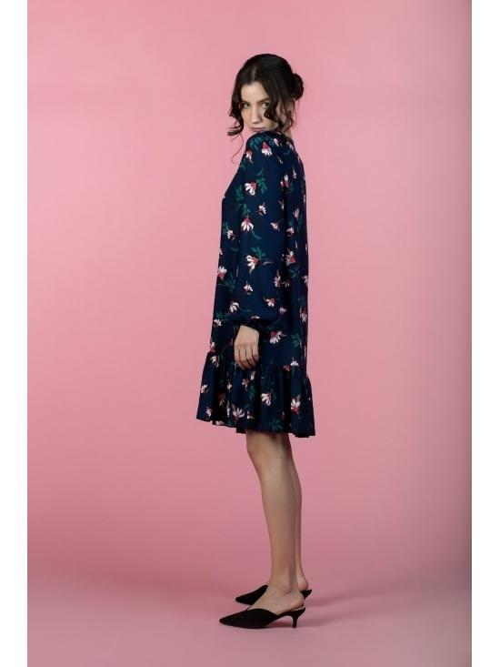 Rochie Leggera bleumarin cu flori roz din vascoza 100% #3