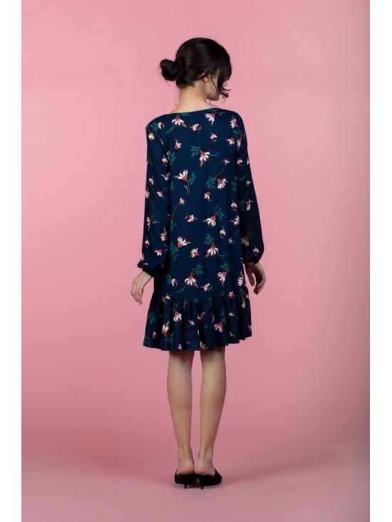 Rochie Leggera bleumarin cu flori roz din vascoza 100% #4