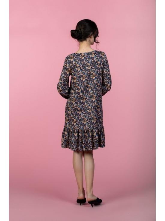 Rochie Leggera bleumarin cu print mic roz din vascoza 100% #2