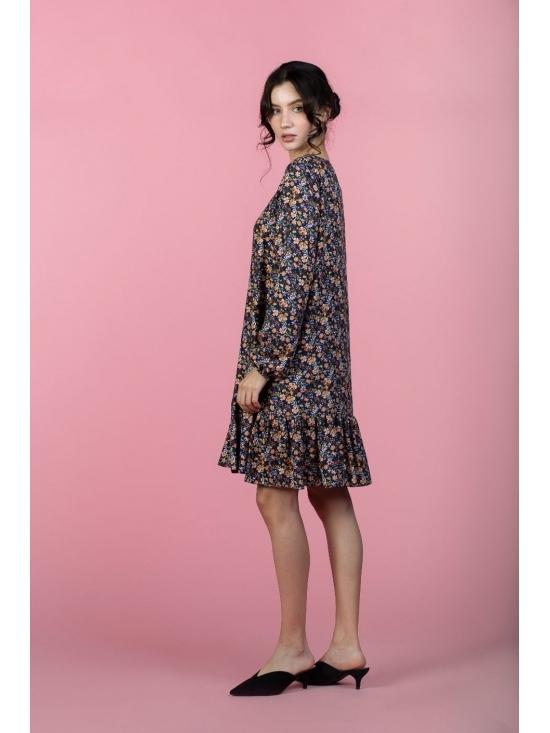 Rochie Leggera bleumarin cu print mic roz din vascoza 100% #3