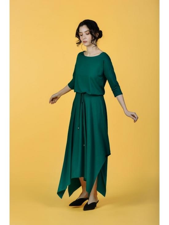 Rochie Krissy verde din jerse vascoza 100% #2