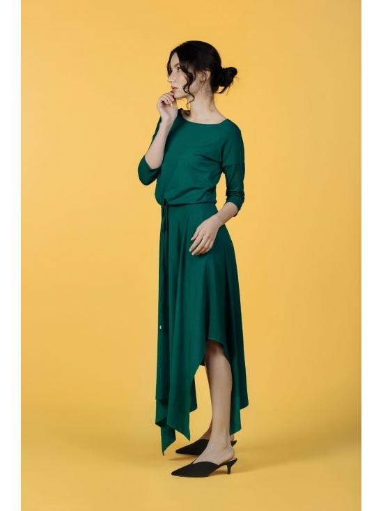 Rochie Krissy verde din jerse vascoza 100% #3