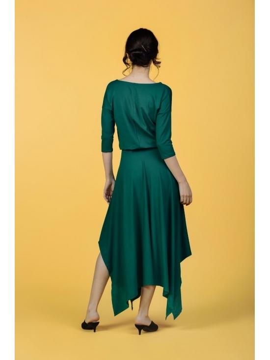 Rochie Krissy verde din jerse vascoza 100% #4