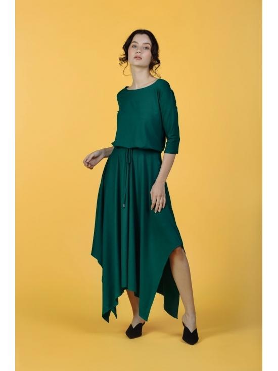 Rochie Krissy verde din jerse vascoza 100% #5