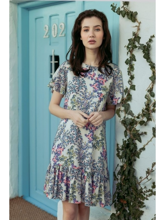 Rochie Leggera alba cu flori roz #3