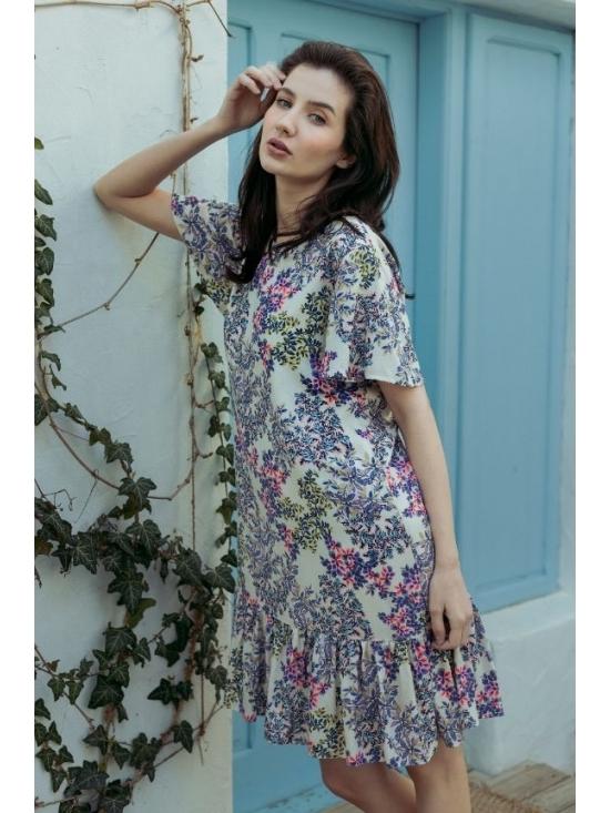 Rochie Leggera alba cu flori roz #4