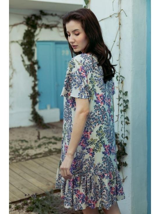 Rochie Leggera alba cu flori roz #5