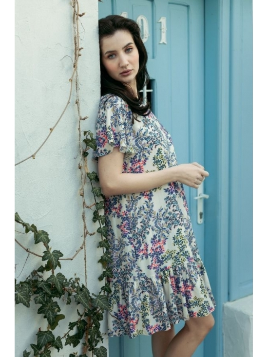 Rochie Leggera alba cu flori roz