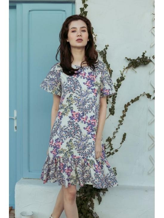 Rochie Leggera alba cu flori roz #2