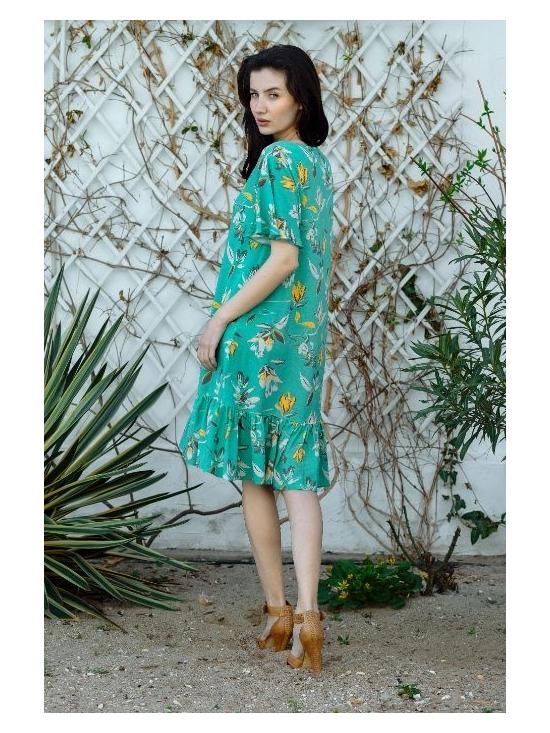 Rochie Leggera verde cu flori galbene #3