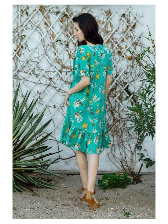Rochie Leggera verde cu flori galbene #4