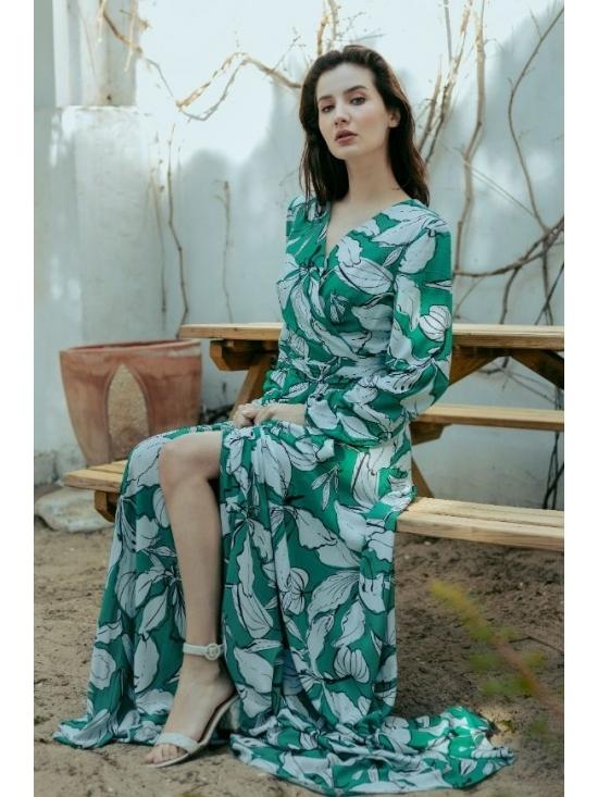 Rochie Ligia verde din vascoza imprimata 100% #3