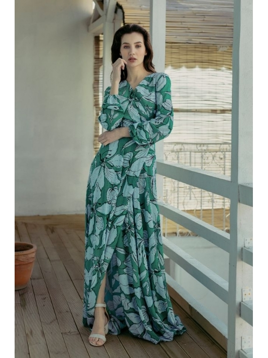 Rochie Ligia verde din vascoza imprimata 100% #5