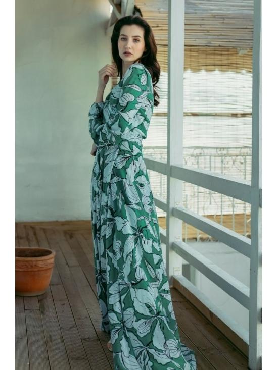 Rochie Ligia verde din vascoza imprimata 100% #6