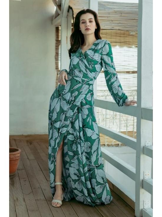 Rochie Ligia verde din vascoza imprimata 100% #2