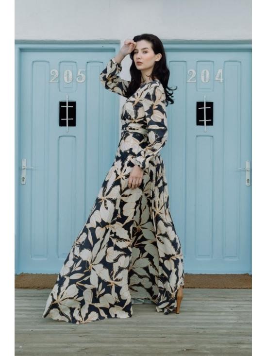 Rochie Ligia bleumarin din vascoza imprimata 100% #5