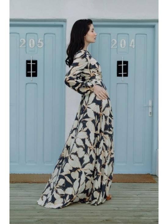 Rochie Ligia bleumarin din vascoza imprimata 100% #3
