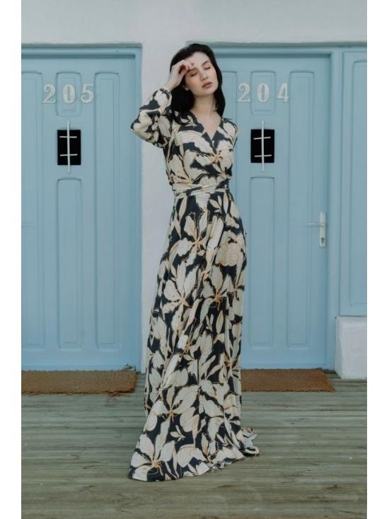 Rochie Ligia bleumarin din vascoza imprimata 100% #2